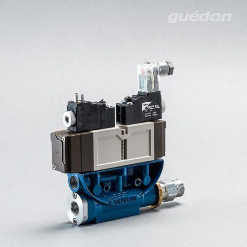 Ejektor V2i: Vakuumerzeuger geradlinig, verstopfungsfrei, elektrisches 5/3 Wegeventil als ISO-Ventil, Mittelstellung geschlossen, NC, Anschluss 2 x T15