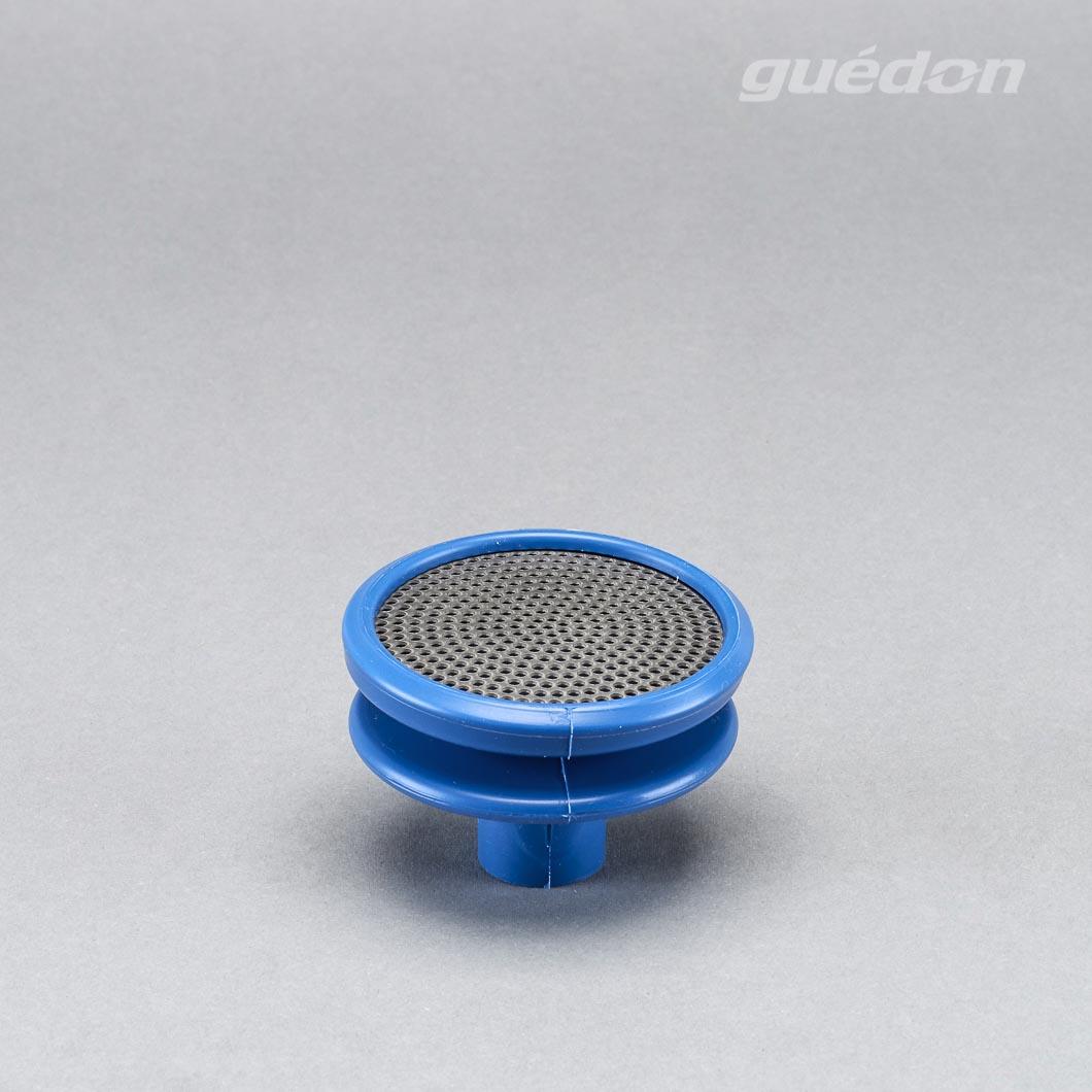 Vakuumsauger zertifiziert nach EU 1935/2004 für halbfeste Lebensmittel mit Edelstahlgitter Silikon blau