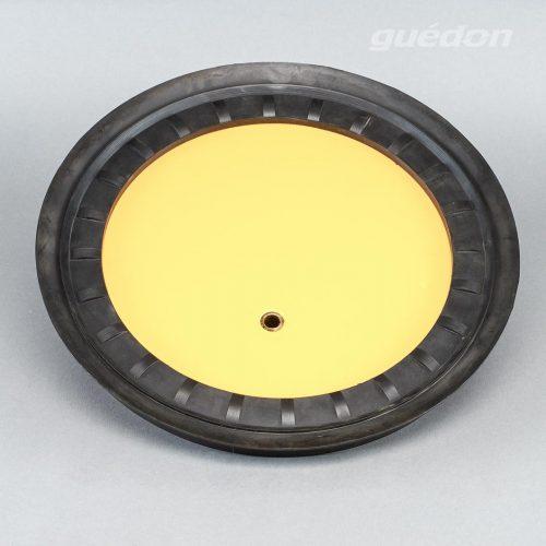 Metallsaugplatte rund mit Hartgummidichtung aus NBR zum Handling von glatten, fettigen, oeligen oder warmen Werkstücken, Tragkraft 80 bis 1300 kg