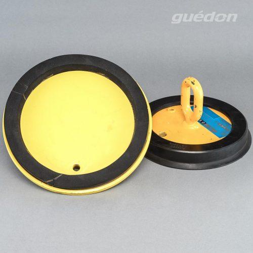 Metallsaugplatte rund mit Moosgummidichtung oder Hartgummidichtung zum Handling von schweren Lasten, Tragkraft 33 - 2667 kg