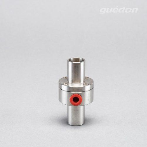 Minigebläse: Vakuumerzeuger mit hohem Volumenstrom aus Edelstahl zum Handling von sehr porösen Produkten und zur Förderung von leichten Werkstücken, Durchgang 20 mm