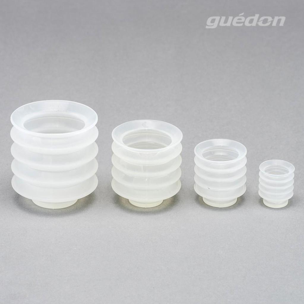 Vakuumsauger für Gebäck oder Werkstücke mit besonders stark gewölbter Oberfläche (z.B. Kerzen), Silikon, FDA-konform, lebensmittelecht, Anschlussnippel einsteckbar
