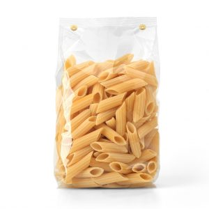 Gulyash. Transparent plastic pasta bag isolated on white background. Packaging template mockup collection. With clipping Path included. Stand-up Front view. Penne Rigate shape. Digitalbild. www.shutterstock.de; Stockfotonummer 534209074. Web 15. August 2017.