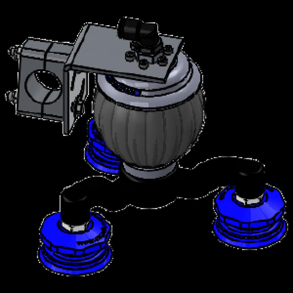 Vacuball-Spinne: selbsttätig blockierendes Kugelgelenk mit 3 Vakuumsaugern, Befestigung mit REDUZIERTER BAUHÖHE für die Pressenautomation / Karosseriehandling