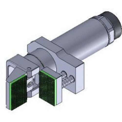 Winkelspanngreifer mit gummierter Greifbacke und Anschlag, Klemmgröße 30 mm, Hub 95°,Greiffinger GRF.3095.VSX, Greiflösungen von guédon – Vakuumspezialist