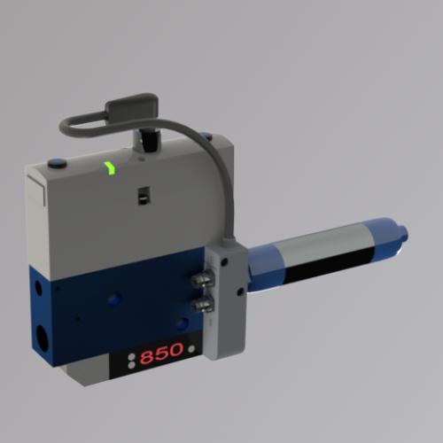 Ejektor V2i Eco mit Luftsparautomatik und verstärktem Abblasen, bei Druckluftausfall wird das Werkstück gehalten. Sehr robust und zuverlässig!