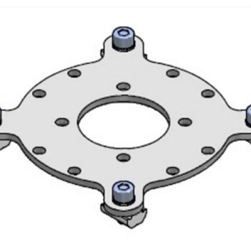 Adapter / Platte 01.01.006 für Schnellwechselsystem, passend für 01.01.002 und CUDL.90, rund, greiferseitig: Schneller Wechsel von Greifern am Roboter, End-of -Arm-Tooling