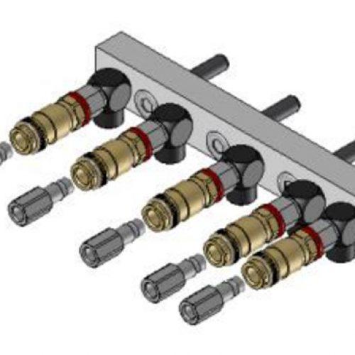 Luftanschlussleiste LAL.1.5 für quadratisches Schnellwechselsystem, passend für SWM1, mit 5 Anschlüssen; Schneller Wechsel von Greifern am Roboter