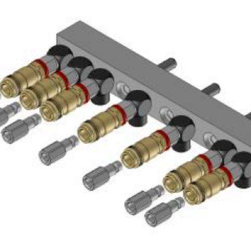 Luftanschlussleiste LAL.1.7 für quadratisches Schnellwechselsystem, passend für SWM1, mit 7 Anschlüssen; Schneller Wechsel von Greifern am Roboter