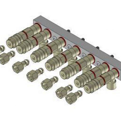 Luftanschlussleiste LAL.2.7 für quadratisches Schnellwechselsystem, passend für SWM2, mit 7 Anschlüssen; Schneller Wechsel von Greifern am Roboter