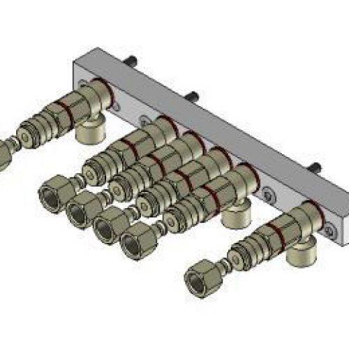 Luftanschlussleiste LAL.3.6 für quadratisches Schnellwechselsystem, passend für SWM3, mit 6 Anschlüssen; Schneller Wechsel von Greifern am Roboter