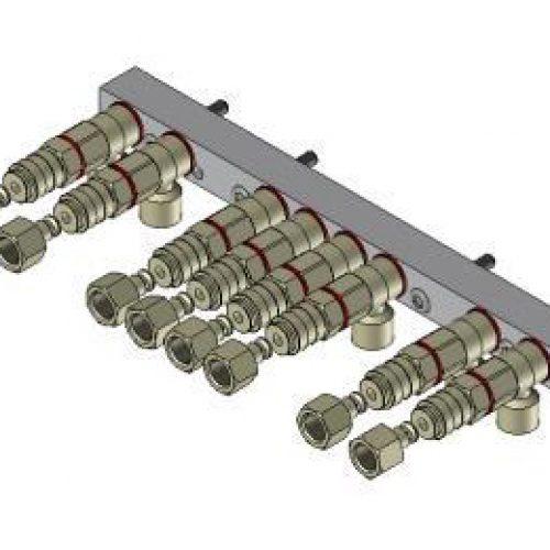 Luftanschlussleiste LAL.3.8 für quadratisches Schnellwechselsystem, passend für SWM3, mit 8 Anschlüssen; Schneller Wechsel von Greifern am Roboter