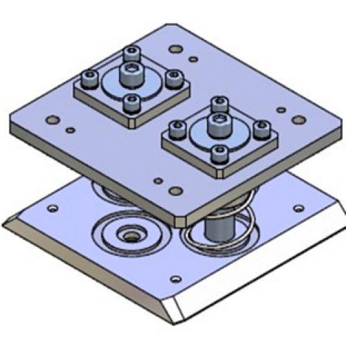 Schnellwechselvorrichtung gefedert, Greiferseite , quadratisch, Größe: 100x100, Hub 22, Schnellwechselsystem gefedert GPG.1 für Roboterarme: Schneller Wechsel von Greifern am Roboter