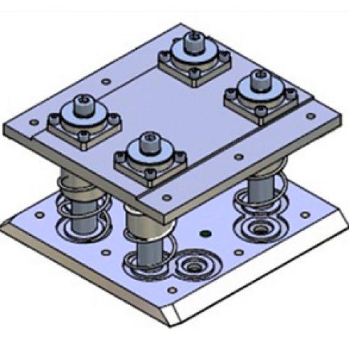 Schnellwechselvorrichtung gefedert, Greiferseite , quadratisch, Größe: 160x160, Hub 30, Schnellwechselsystem gefedert GPG.2 für Roboterarme: Schneller Wechsel von Greifern am Roboter