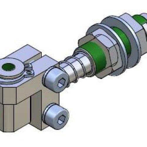 Federstößel GGS100515 für normale Bedingungen, Befestigung durch Schottverschraubung M10x1, Hub 10 mm, Saugeranschluss verstellbar, verdrehgesichert - Sanftes Aufsetzen und Höhenausgleich