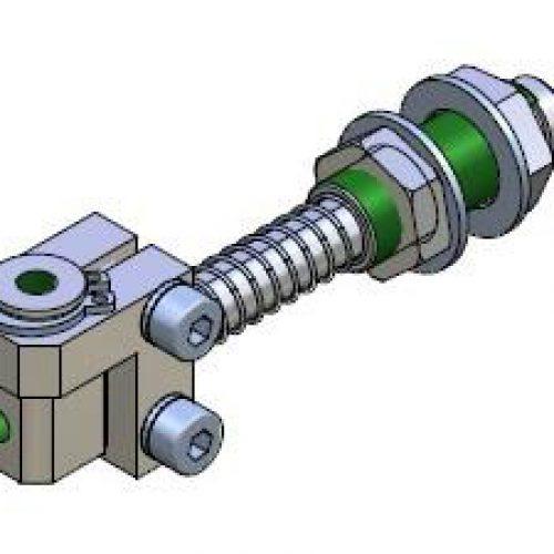 Federstößel GGSM100520 ür normale Bedingungen, Befestigung durch Schottverschraubung M10x1,5 Hub 20 mm, Saugeranschluss verstellbar, verdrehgesichert - Sanftes Aufsetzen und Höhenausgleich