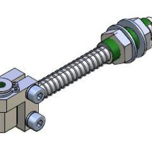 Federstößel GGSM100530 ür normale Bedingungen, Befestigung durch Schottverschraubung M10x1,5 Hub 30 mm, Saugeranschluss verstellbar, verdrehgesichert - Sanftes Aufsetzen und Höhenausgleich