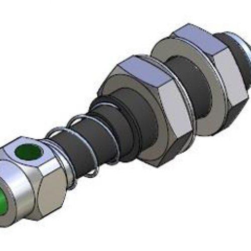 Federstößel GGDG20141820, extrem leicht, Befestigung durch Schottverschraubung M20x1,5, Hub 20 mm, Gewicht 110g, sehr leichtgängig, Aluminium spezialgleitbeschichtet und gehärtet – leichte Kunststoffgreifer bauen