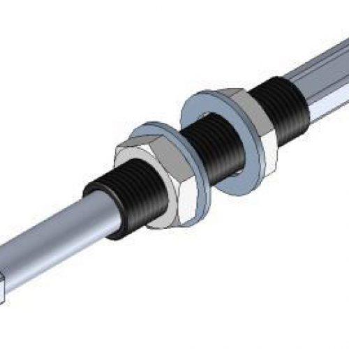 Federstößel SDRG.1025 innen liegende Feder zum Schutz vor Verschmutzung, Befestigung durch Schottverschraubung M10x1,5 Hub 25 mm, Saugeranschluss starr, sehr leichtgängig, Aluminium, ohne Verdrehsicherung– Alles für den Greiferbau im Onlineshop